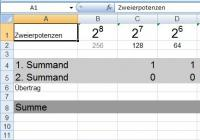 Binäre Addition und Subtraktion mit Excel